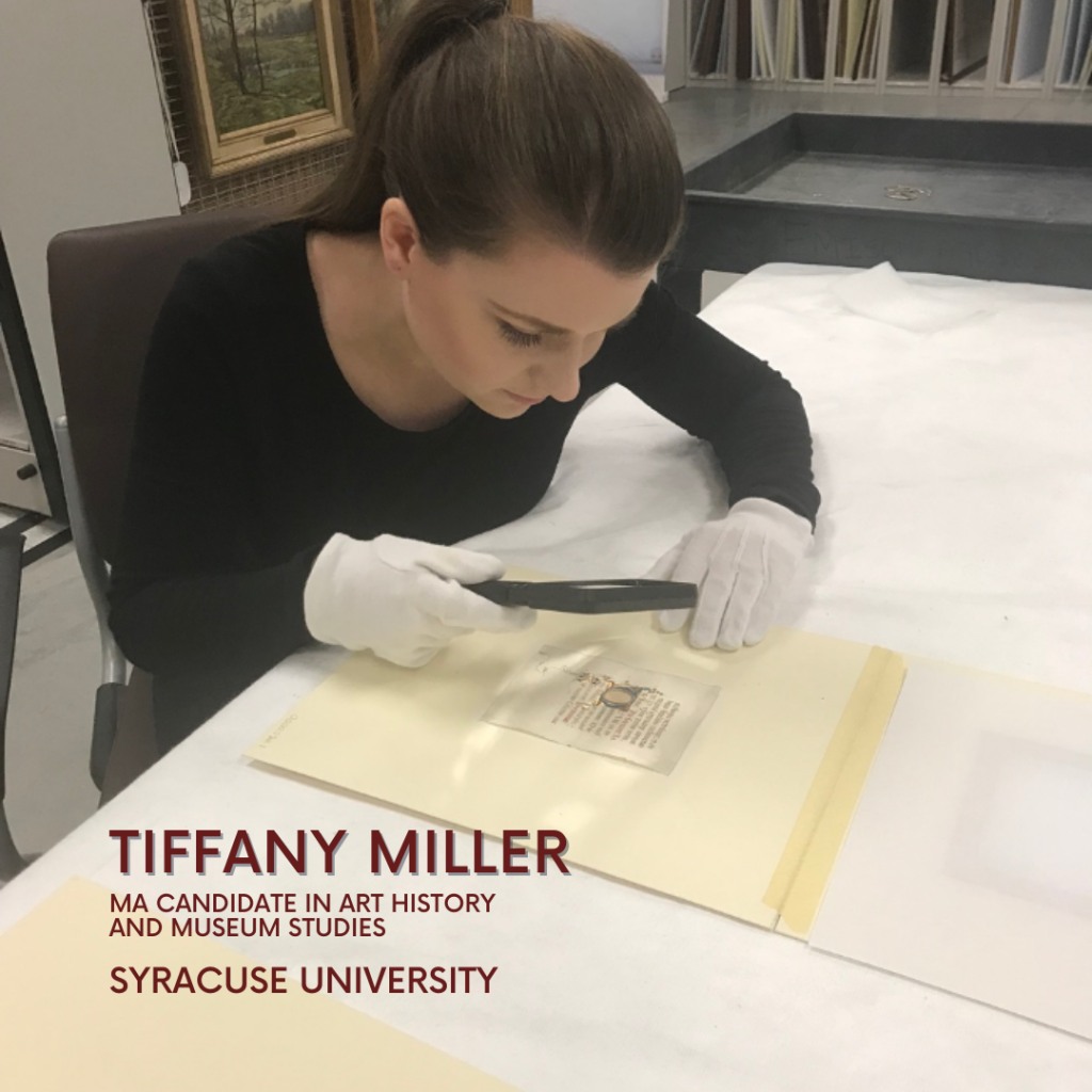 July member of the month, Tiffany Miller, examines an illuminated manuscript in a collections storage space.